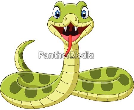 suesse gruene schlange cartoon auf weissem