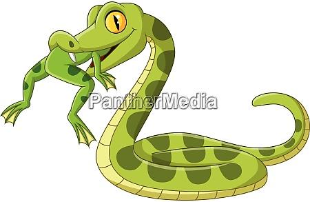 cartoon gruene schlange isst einen frosch