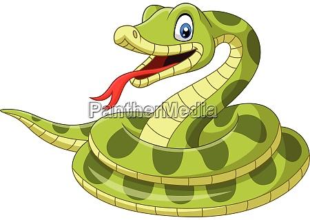 cartoon gruene schlange auf weissem hintergrund