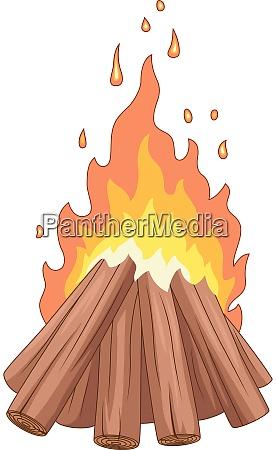 lagerfeuer mit holzstapel auf weissem hintergrund