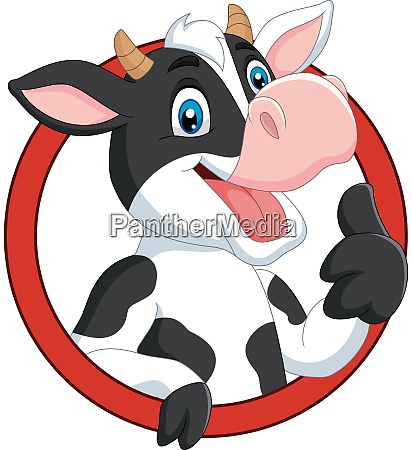 cartoon happy cow giving thumb up