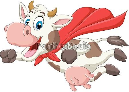 cartoon niedlichen superhelden kuh fliegen