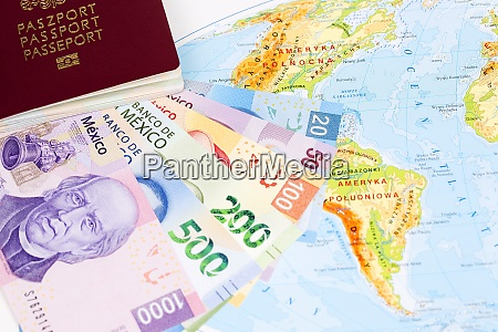 mexican pesos with passport on the