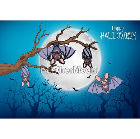 cartoon funny bats hanging on tree