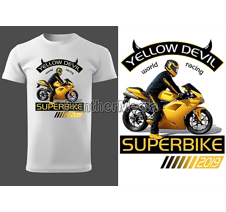 t shirt design with motorcyclist and