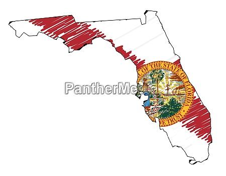 florida state outline grunge karte und