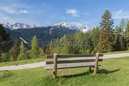 alps, panorama, with, bench, garmisch-partenkirchen, bavaria - 27993438