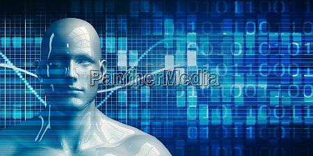 robot android man using data analytics