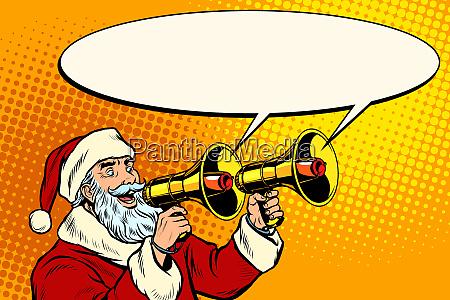 weihnachtsmann mit megafon weihnachtsverkauf