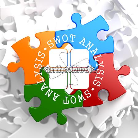 swot analisis auf multicolor puzzle
