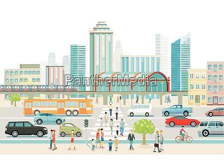 grossstadt mit bahnhof bus und fussgaengerueberweg