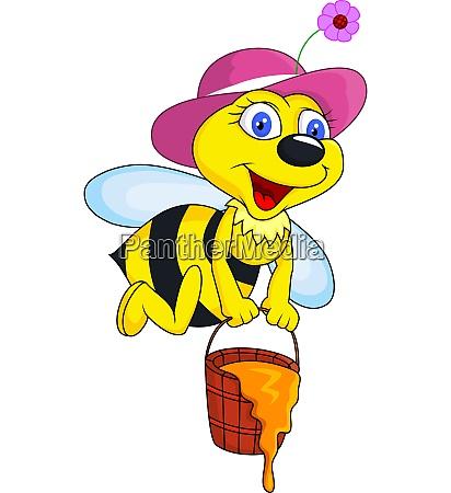 biene cartoon mit honig eimer