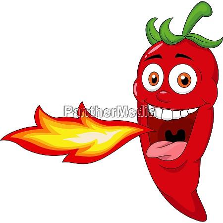 chili cartoon charakter atmen feuer