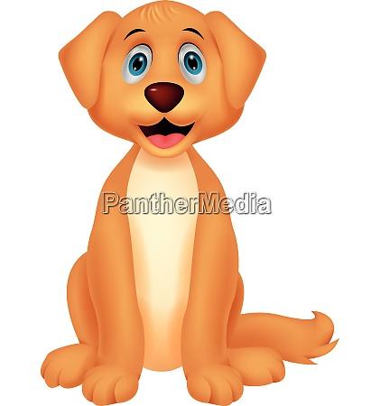 suesse hund cartoon sitzen
