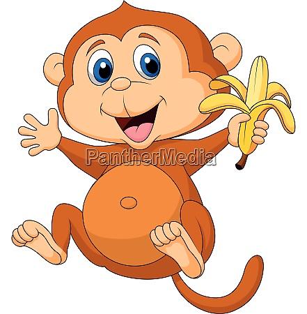 niedlicher affe isst banane
