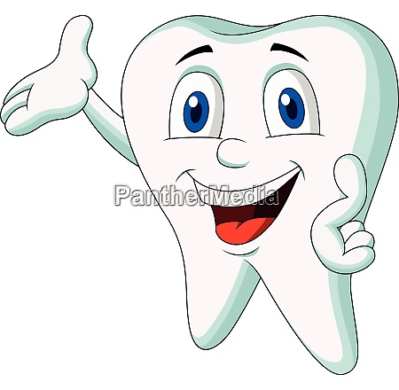 cute tooth cartoon character presenting