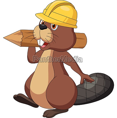 cute cartoon beaver wearing safety hat