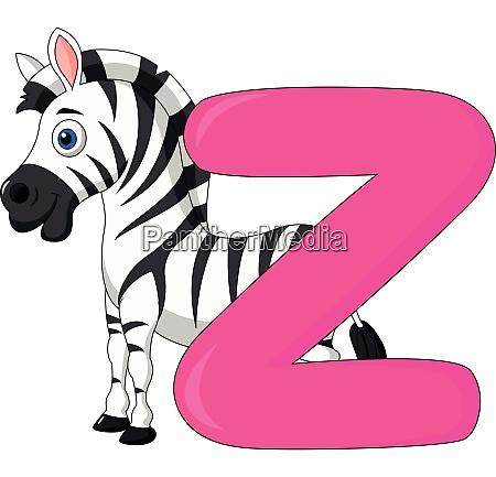 alphabet z mit zebra cartoon