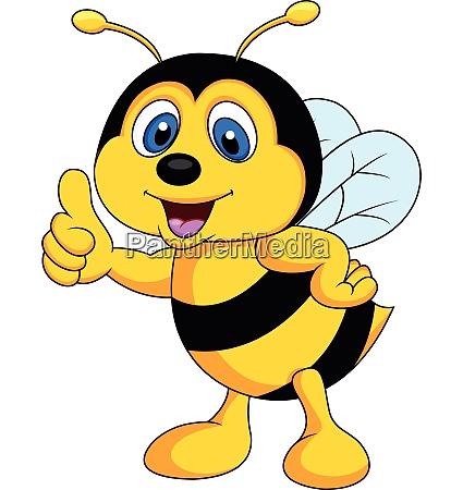 suesse bee cartoon daumen nach oben