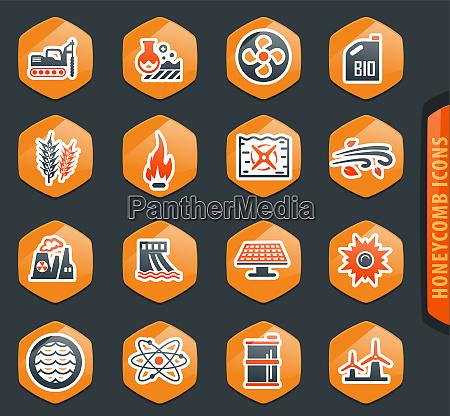 kraftstoff energie erzeugung symbole gesetzt