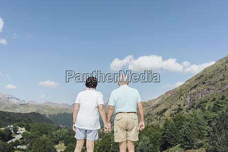 rueckblick auf seniorenpaar das hand in