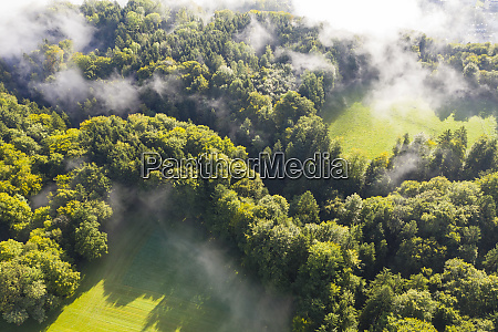 deutschland bayern dorfen luftaufnahme von nebel