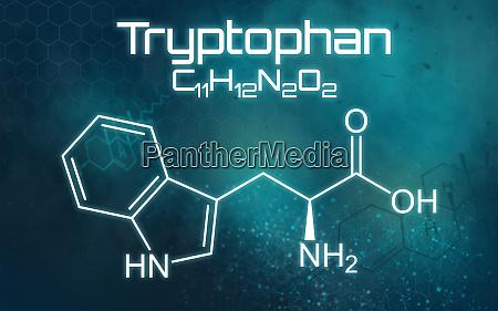 chemische formel von tryptophan auf einem