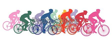 gruppe von radfahrern auf rennraedern radsport