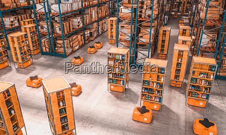 inneneiner einer fabrik mit drohnen fuer