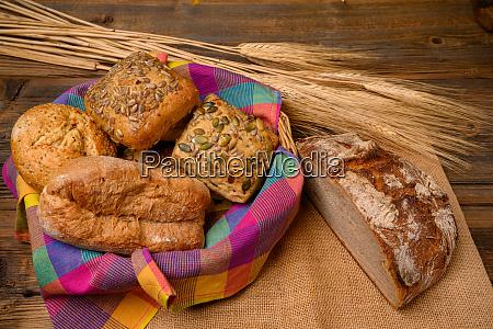 freshly various buns in a basket