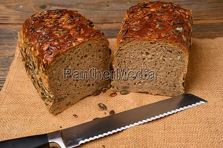 a fresh pumpkin seed bread from