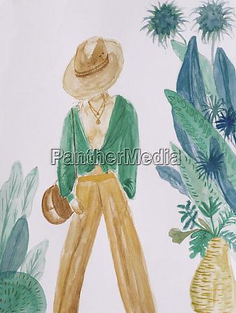 aquarell malerei von modischen frau von
