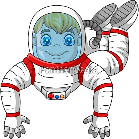 cartoon astronaut fliegen isoliert auf weissem