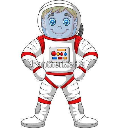 cartoon astronaut steht isoliert auf weissem