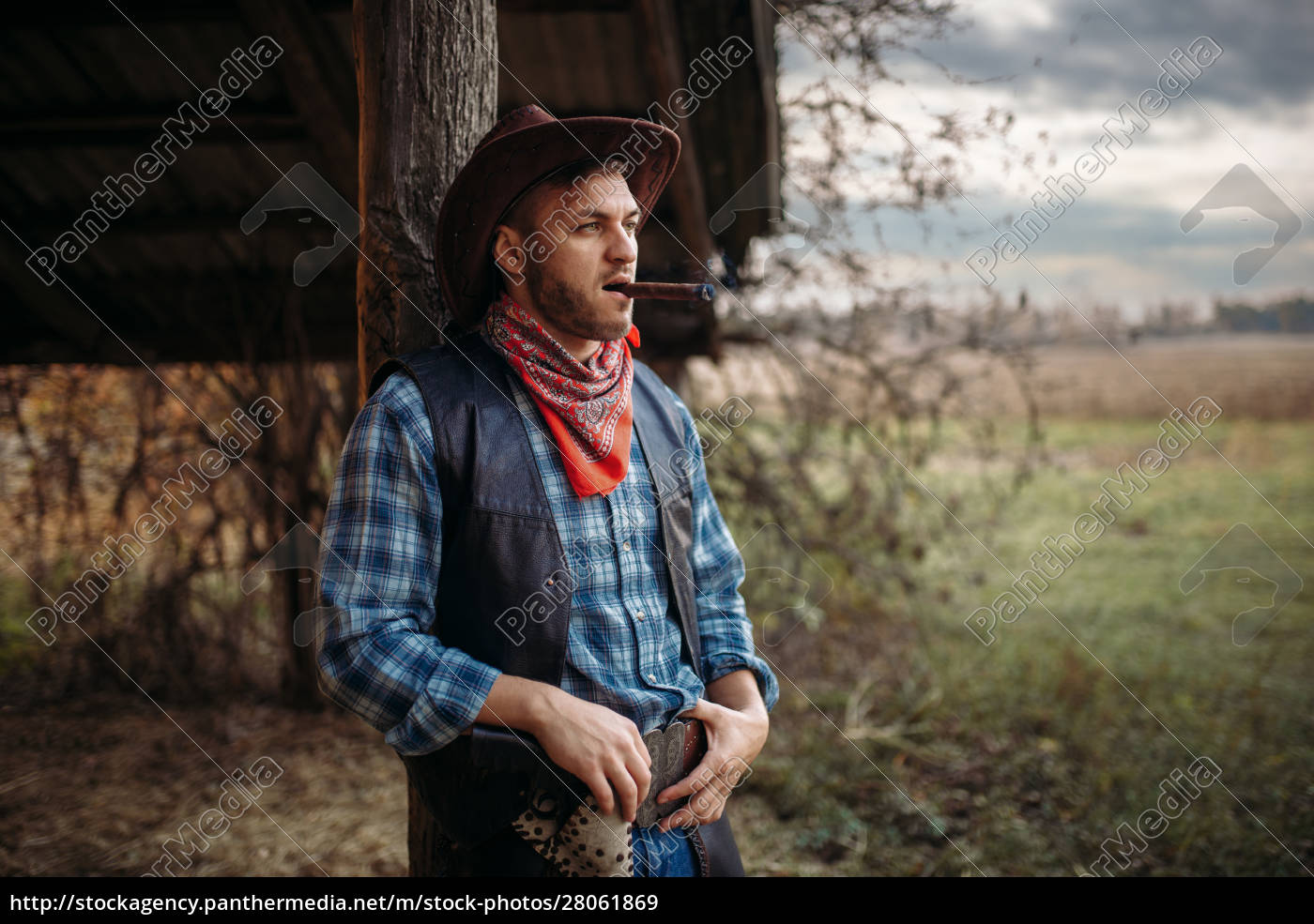 brutal, cowboy, smokes, a, cigar, , wild - 28061869