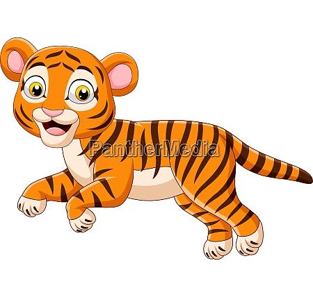 cartoon springen baby tiger isoliert auf