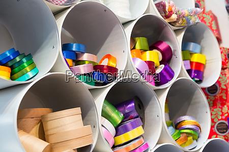 colorful ribbons closeup xmas holiday decoration