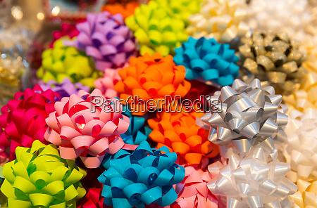 colorful ribbon balls closeup holiday decoration
