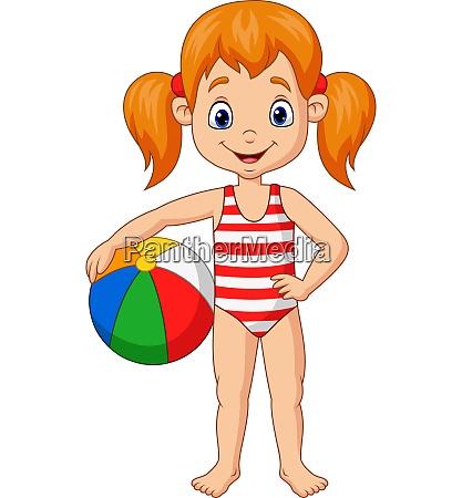 cartoon gluecklich maedchen haelt einen strandball