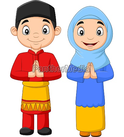 happy muslim kids cartoon on white