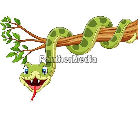 cartoon gruene schlange auf baumzweig
