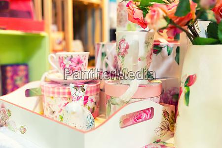 vintage porcelain tea set on the
