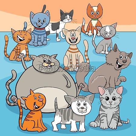 glueckliche katzen gruppe cartoon illustration