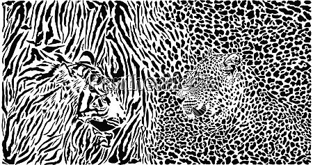 tiger und leopard und muster hintergrund