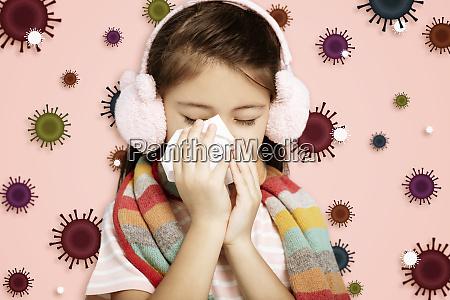 gestresstes kind traegt schutzmaske vor grippevirus