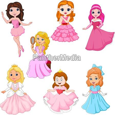 set of cute cartoon princesses isolated
