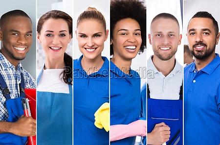 collage von professionellen reinigern vielfaeltige gruppe