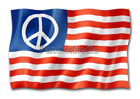 us friedensflagge auf weiss isoliert