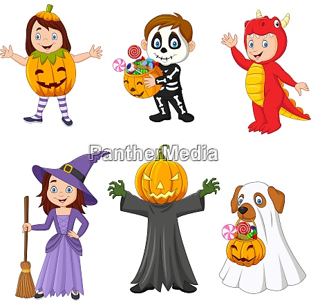 cartoon glueckliche kinder mit halloween kostuem