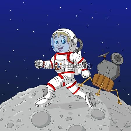 cartoon junge astronaut zu fuss auf